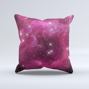 Glowing Pink Nebula Ink-Fuzed Decorative Throw Pillow