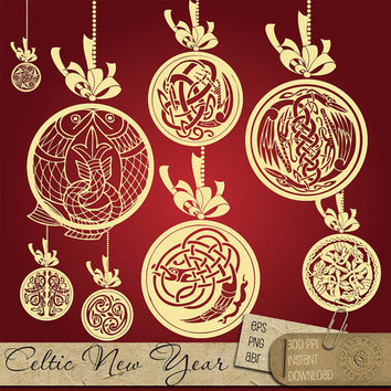 Celtic Christmas New Year Ornamens Clip Art - EPS, PNG, ABR - digital vector stamps, scrapbooking clipart, wedding - cv-036