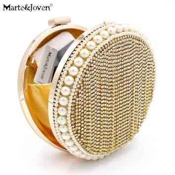 [Marte&Joven] Luxury Design Round Women Gold Evening Bags with Bling Ladies Party/Wedding Pearl/Crystal Gold Small Clutch Bag