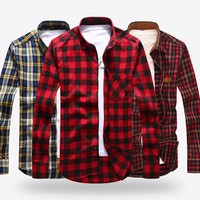 FLANNEL SHIRT Men's Long Sleeve Plaid Pocket