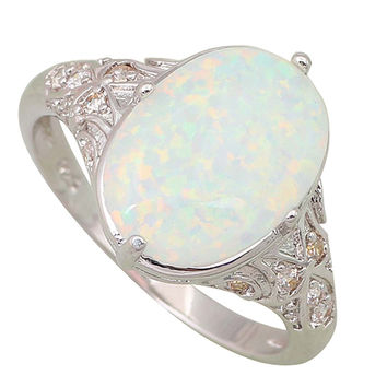 Fashion Opal rings Fina Jewelry Women's rings White Fire Opal 925 Sterling Silver Overlay size 5 6 7 8 9 10 R106