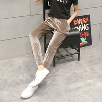 New Fashion Women Casual Velvet Harem Pantalones Mujer Patchwork Harem Pants 2017 Nine Capris Casual Trousers Femme