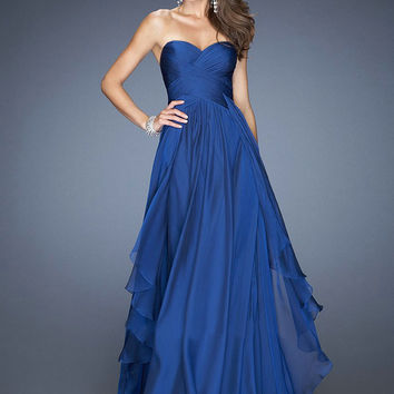 Royal Blue Evening Dresses 2015 Fashion Chiffon A Line Sweetheart Emerald Green Long Prom Dress