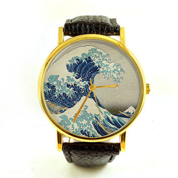 The Great Wave Watch, Ladies Watch, Men's Watch, Hokusai, Woodblock Print, Antique, Paper Ephemera, Unisex, Novelty, Analog, Gift Idea