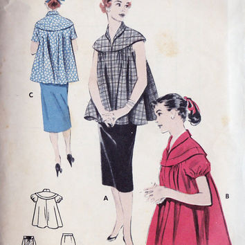 1950s Maternity Smock Top and Skirt Vintage Sewing Pattern, Mad Men Office Fashion Butterick 6388 Bust 30""