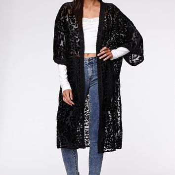 Kendall & Kylie Burnout Velvet Kimono - Womens Shirts - Black - One