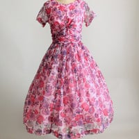 Vintage 1950s Pink and Purple Chiffon Party Dress