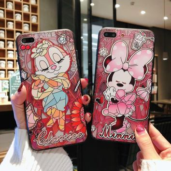 Embossed Animal Chipmunk Minnie Mouse Mickey Cute Case For iPhone XS Max XR X 6 6S 7 8 Plus