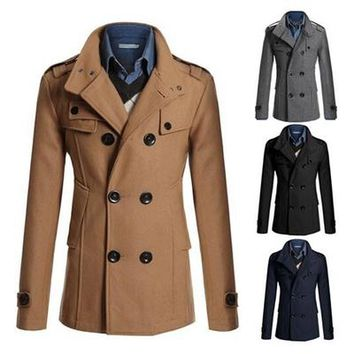 Fashion Men's Winter Coat Turn-down Collar Wool Blends Warm Men's Thick Coat Double Breasted Winter Overcoat For Male