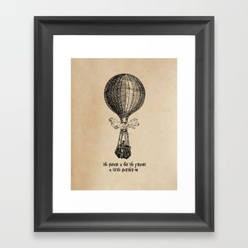 Jules Verne - The future is but the present Framed Art Print by 5pennystudio