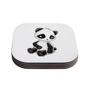 "Geordanna Cordero-Fields ""My Panda Sketch"" Black White Coasters (Set of 4)"