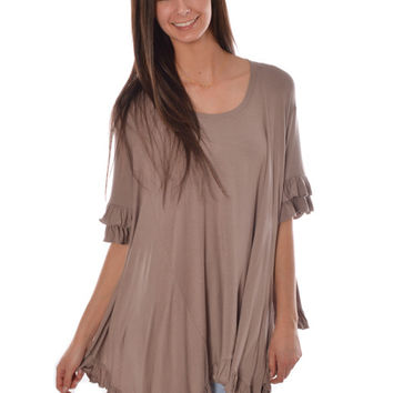 Basically Me Ruffle Tee (Taupe)