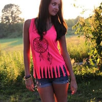 Dream Catcher Fringe Tank in Neon Pink