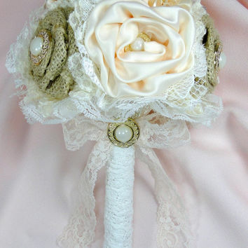 Custom Bridesmaid Bouquet Burlap and Button with Lace and Satin Flowers You Choose Your Own Colors Rustic Shabby Chic Vintage Country