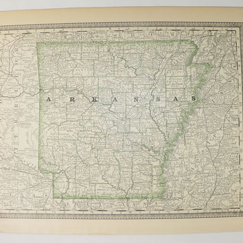 1881 Rand McNally Arkansas Map 1903 Vintage Map Arkansas State Map, Antique AR Map, Arkansas Gift for Couple, Arkansas Art Map Gift Under 30
