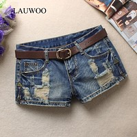 LAUWOO Summer Women's Trendy Hole Denim Shorts Fashion Beggars Shorts Jean Low waist Shorts Without Belt