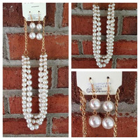 Triple Layer Pearl Necklace Set