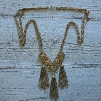 Vintage 1980's Sarah Coventry gold tone, long, chevron, triple tassel, four strand necklace.  boho//gypsy//hippie