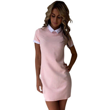 Summer Dress Robe 2017 Women Turn-down Collar Short Sleeve Office Dresses Casual Straight Mini Dress Vestidos Mujer Pink GV634
