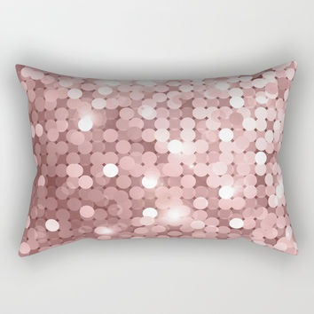 Rose gold glitter Rectangular Pillow by printapix