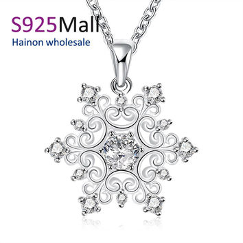 new fashion snowflake necklace jewelry for christmas gift 2016 winter party paved Czech diamond vintage design pendant necklace