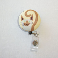 Retractable ID Badge Holder Reel - Fabric Button - brown Cat Kitty kitten