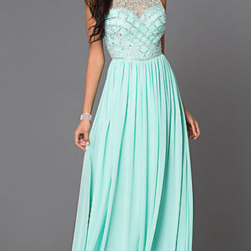 Floor Length Sleeveless Gown G411 with Illusion Bodice