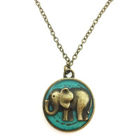 Elephant necklace / elephant jewelry / animal jewelry / teal pendant necklace / elephant pendant / brass necklace / animal nature necklace