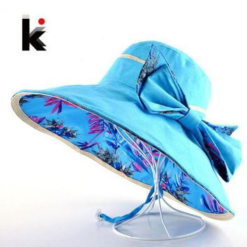 LMF78W Beach Hat Summer Hats For Women Flower Pattern And Solid Colors Sides Use Fashion Visors Cap Sun Wide Big Brim Hat