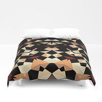 Patchwork Half Mandala Neutral Tones Duvet Cover by Sheila Wenzel