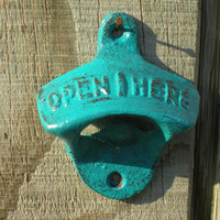 TURQUOISE/Cast Iron Bottle Opener /Kitchen Decor /Vintage/ Retro Style / Man-cave/ Game Room/ Patio/ Rustic Metal Wall Decor