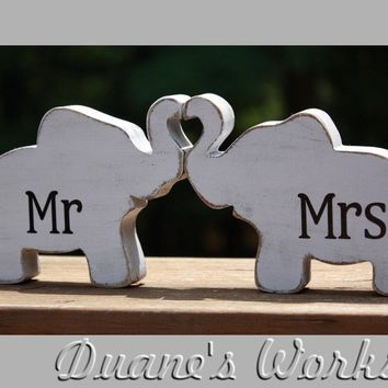 Mr & Mrs Elephants in love, elephant trunk heart, Mr and Mrs, wedding decoration, home decor, nursery decor,shabby chic