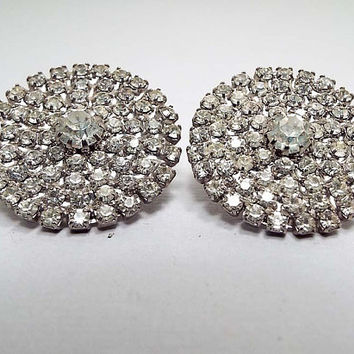 Vintage Rhinestone Clip on Earrings, Silver Tone Round, Mid Century 1950s 50s, Glitz Glam Bling