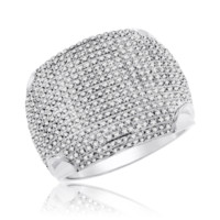 Diamond Micropave Mens Ring 1.00 Cttw in 10KT White Gold