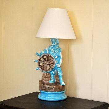 Blue Fisherman Lamp Vintage Glouchester Sailor by TheVelvetBranch