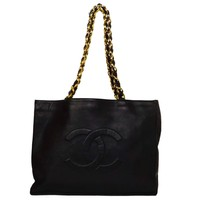 Chanel Vintage '90s Navy Leather Tote Bag GHW