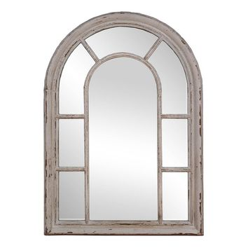 Rustic Windowpane Mirror (White)