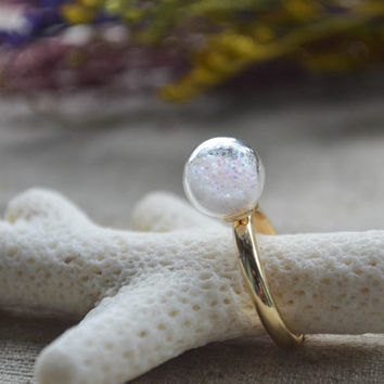 Cute ring,bling blibg ring,adjustable ring, romantic ring,glass ball ring, Gift For Her
