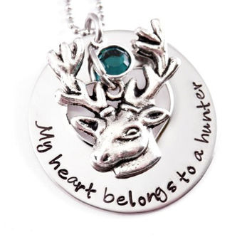 NECKLACE ONLY - Personalized My Heart Belongs To A Hunter- Love Necklace - Hunter - Love My Hunter - Deer - Bow Hunter