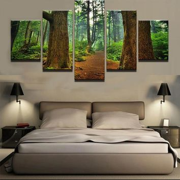 Forest Trees Path Wall Art Canvas Panel Print For Living Room Home Wall Art