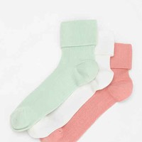 Cooperative Turn Cuff Crew Sock - Pack Of 3- Lime One
