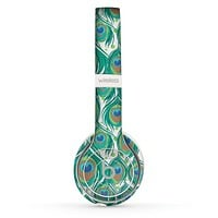 The Peacock Green Feather Bundle Skin Set for the Beats by Dre Solo 2 Wireless Headphones