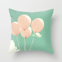 Fly Soft and High, Pink Balloons on Blue Pastel Sky  Throw Pillow by Andrea Caroline