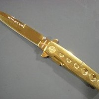 1 X GOLD Milano Handle & Blade Godfather POCKET KNIFE