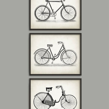 Vintage Bicycle Print Set Of 3 - Bicycle Illustration - Bicycle Poster - Cyclist Gift Idea - Cycling Wall Art Poster - Bicycle Decor