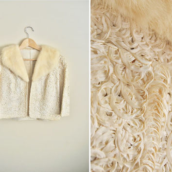 White Wedding - Vintage 1950s Cream Mink Collar Ribbon Coat Bolero