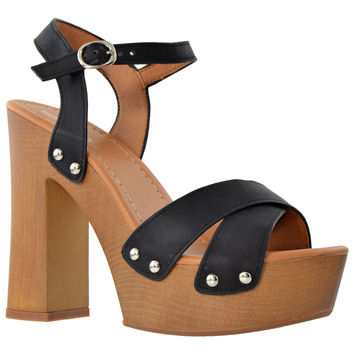 Womens Platform Sandals Ankle Strap Studded Wood Chunky High Heel Shoes Black