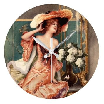 Victorian Pin Up Girl Dress Fashion Costume Paris Wall Clocks