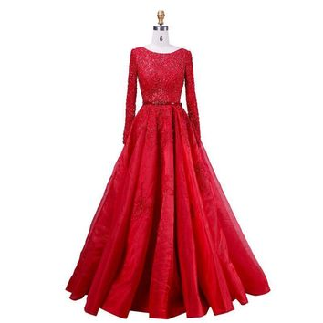 Crystal Beading Scoop-Neck Sashes Lace Ball Gown Dress