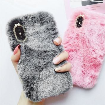 Phone Case for iPhone X Luxury Rabbit Fur Case Winter Furry Shell Smooth Plush For iPhone X Cute Girly Diamond back Cover case